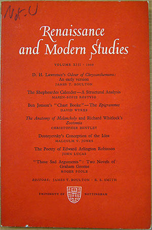 Front cover of 'Renaissance and Modern Studies'